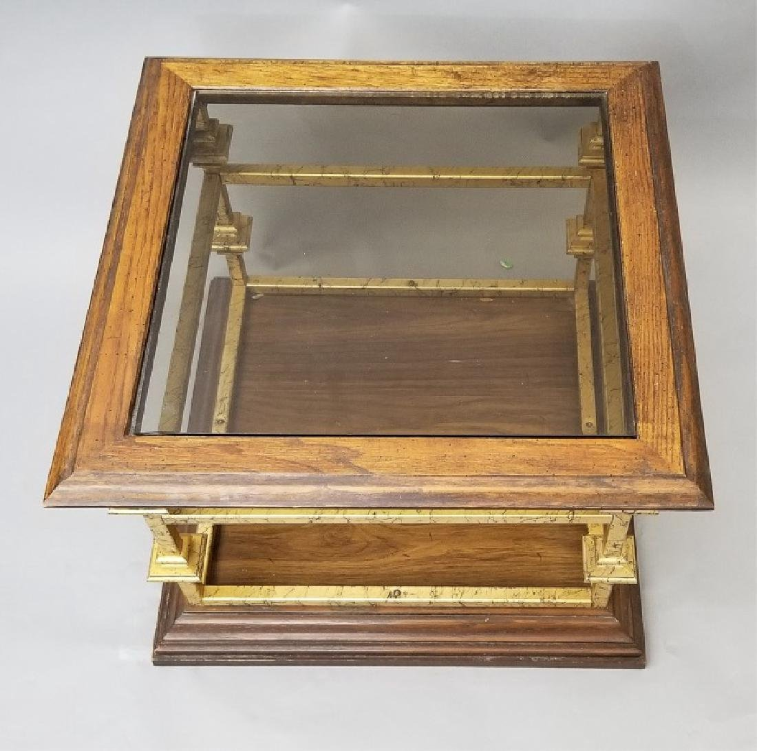 Contemporary End Table Gold Painted Wood & Glass - 6