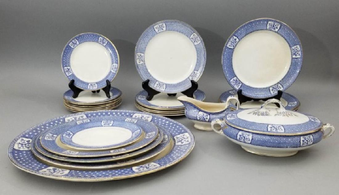 Partial Porcelain Blue & White Service by Tillson