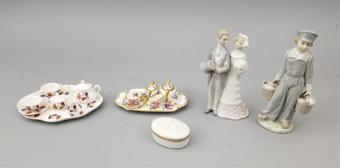 Lladro Figurines, Two Mini Tea Sets & Candle