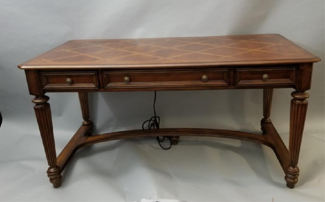 Contemporary Carved Wood Desk w 3 Drawers & USB