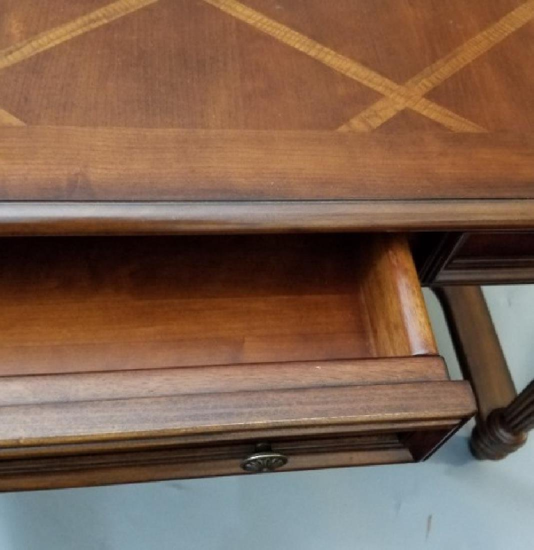 Contemporary Carved Wood Desk w 3 Drawers & USB - 3