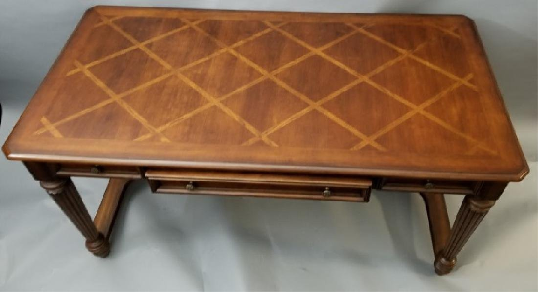Contemporary Carved Wood Desk w 3 Drawers & USB - 4