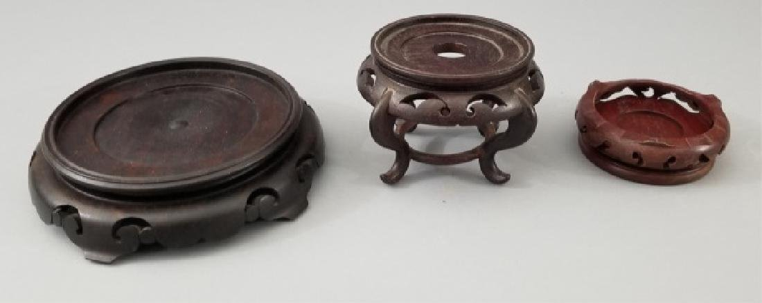 3 Carved Wood Chinese Bases for Display