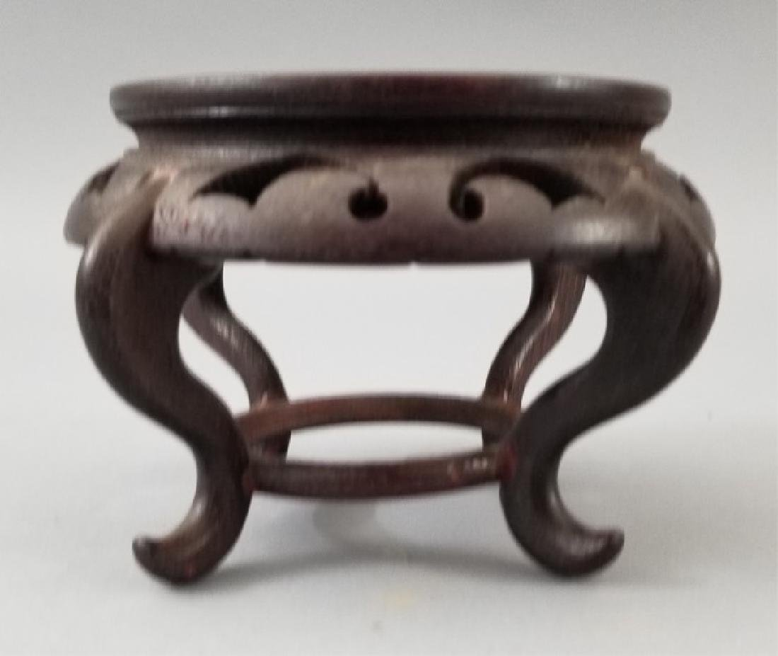 3 Carved Wood Chinese Bases for Display - 3