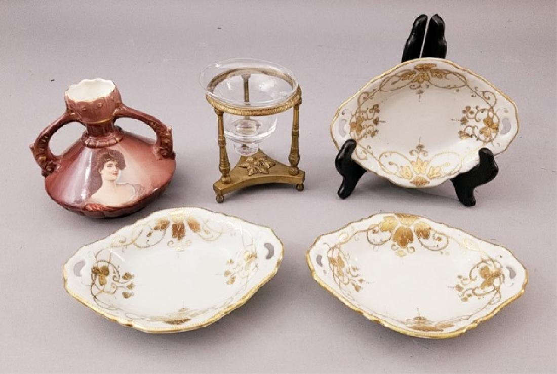 Table Articles - Ormolu Candlestick, Vase & Bowls