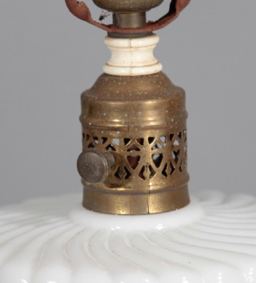 Pair Mid Century Milk Glass Table Lamps - 4
