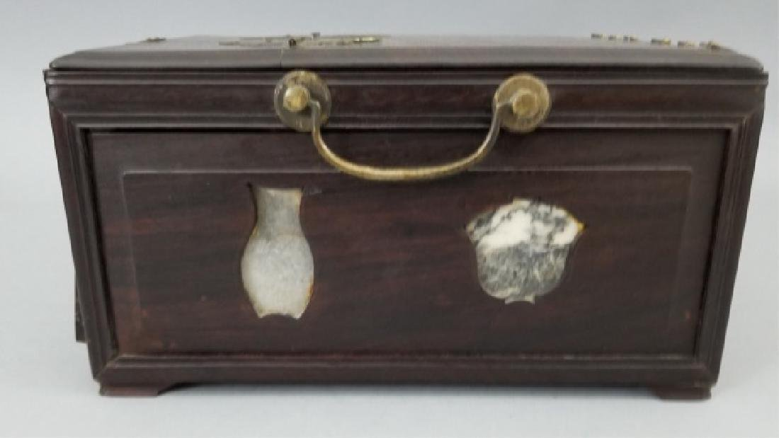 Antique Chinese Hardwood & Marble Jewelry Box - 2
