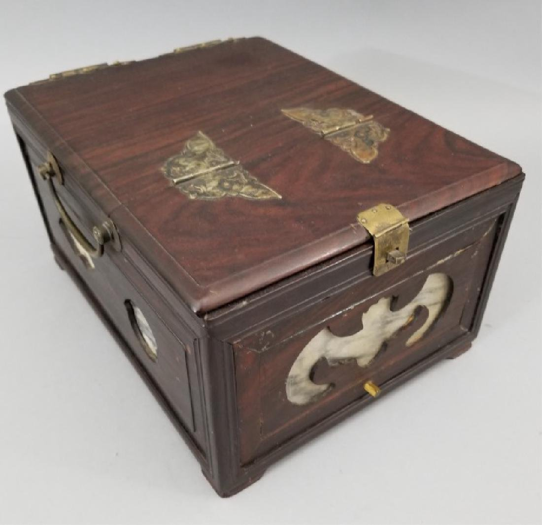 Antique Chinese Hardwood & Marble Jewelry Box - 3