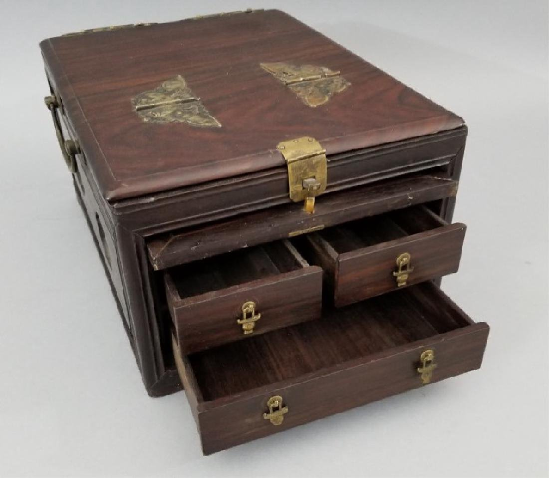 Antique Chinese Hardwood & Marble Jewelry Box - 7