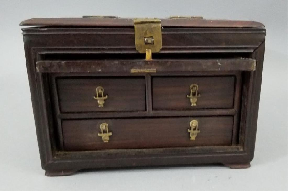 Antique Chinese Hardwood & Marble Jewelry Box - 8