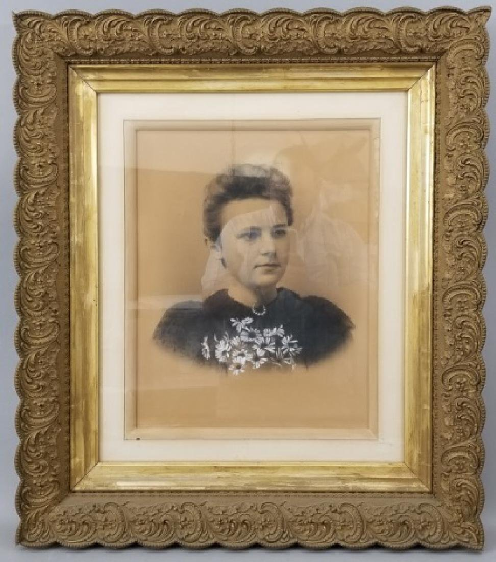 Antique Photograph of Woman in Heavy Gold Frame