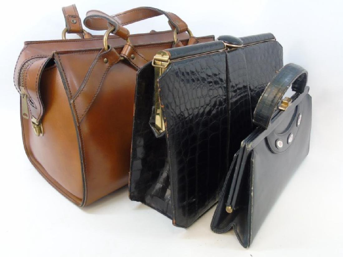 3 Purses - Crocodile, Small Leather & Brown Tote
