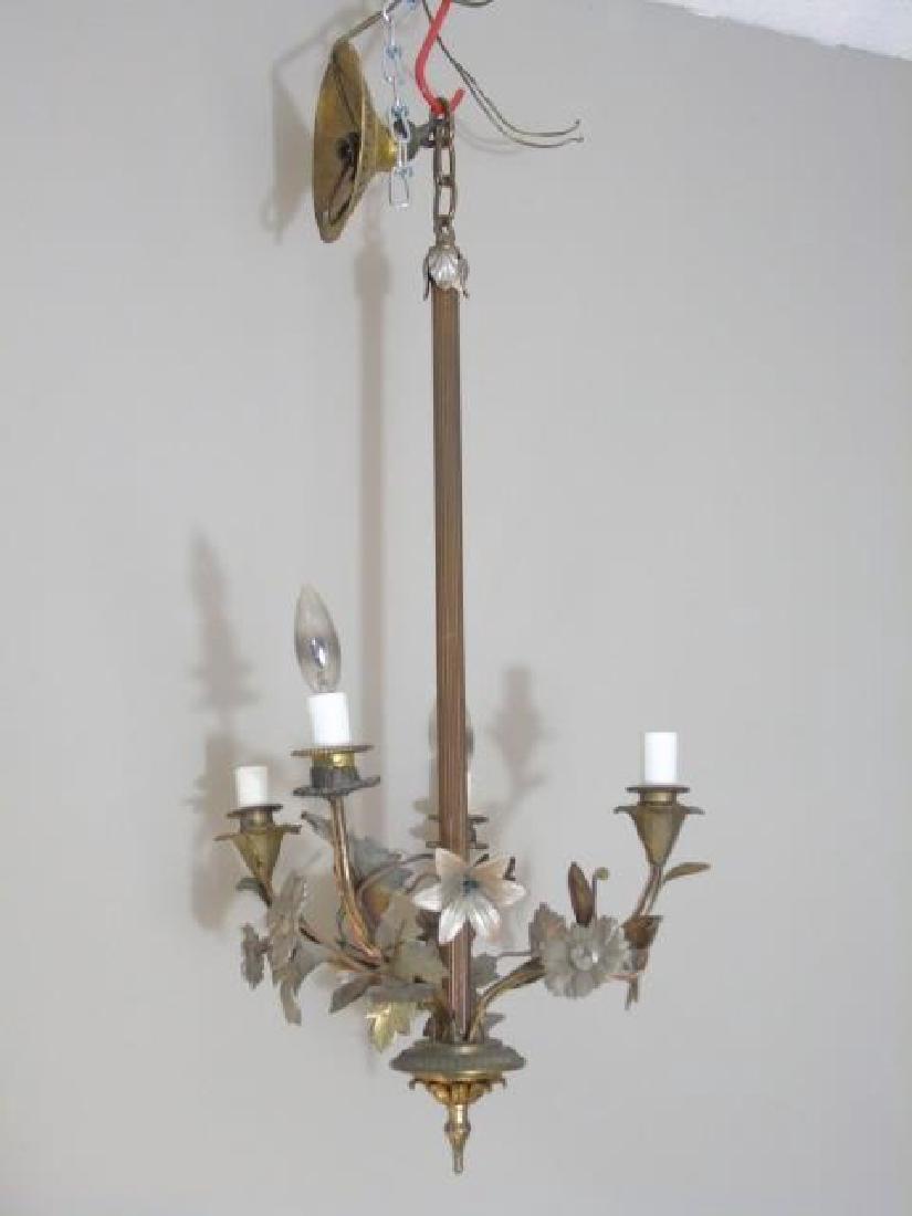 Drop 4 Arm Chandelier with Floral & Leaf Details