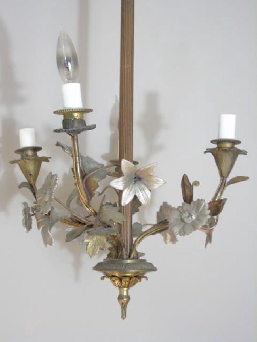 Drop 4 Arm Chandelier with Floral & Leaf Details - 2