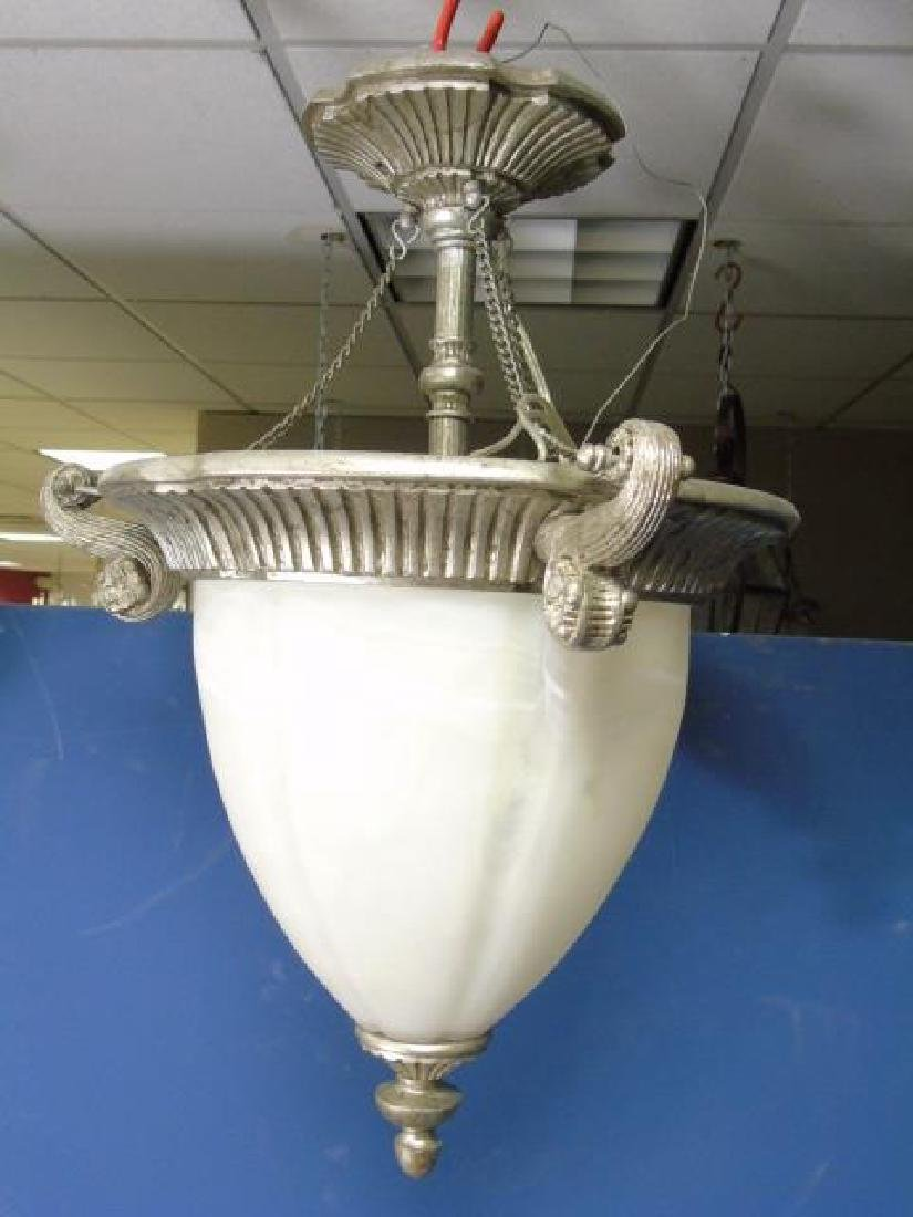 NeoClassical Pewter Tone & White Glass Lantern