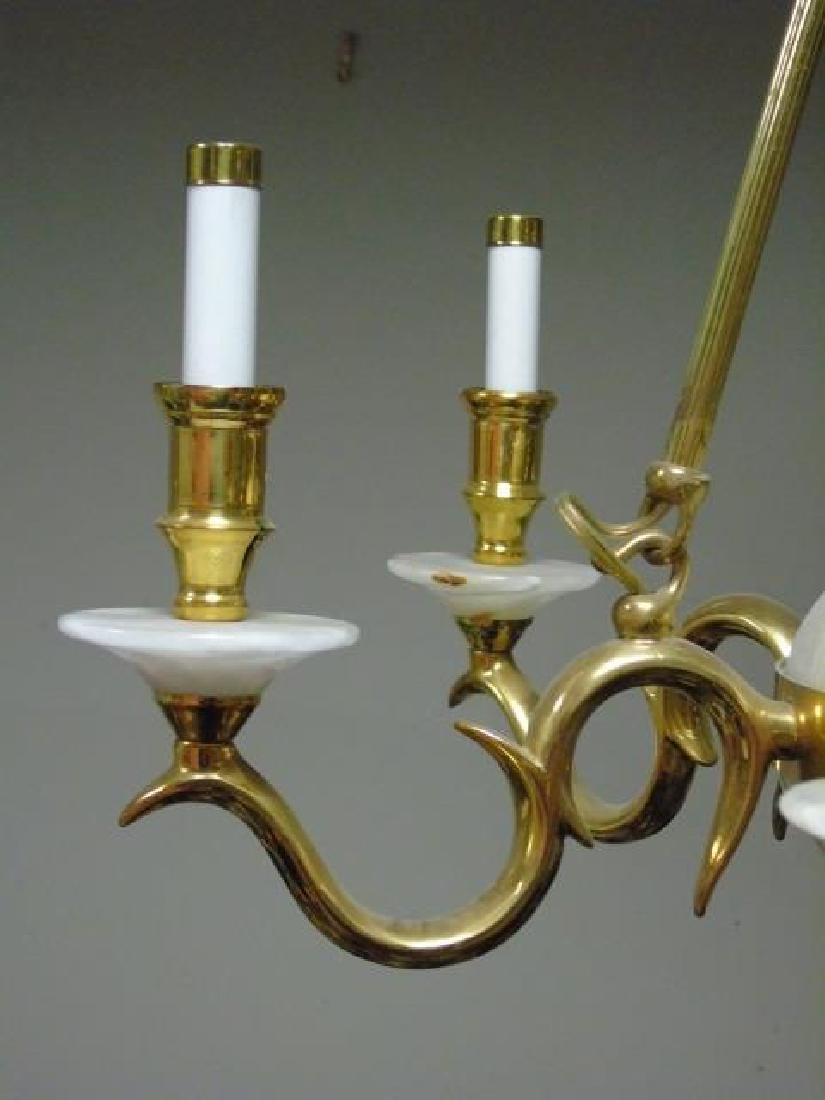 Victorian Style Gold & Marbled Glass Chandelier - 3