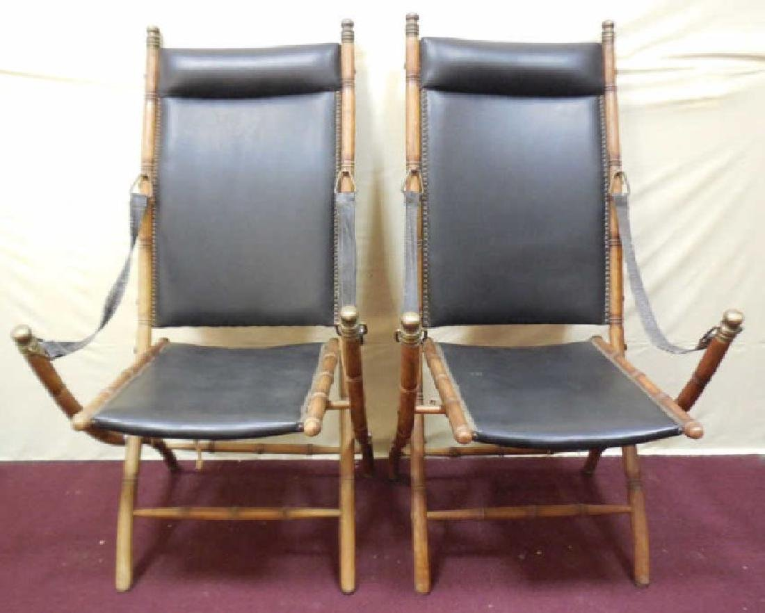 Victorian Faux Bamboo Campaign Folding Chairs