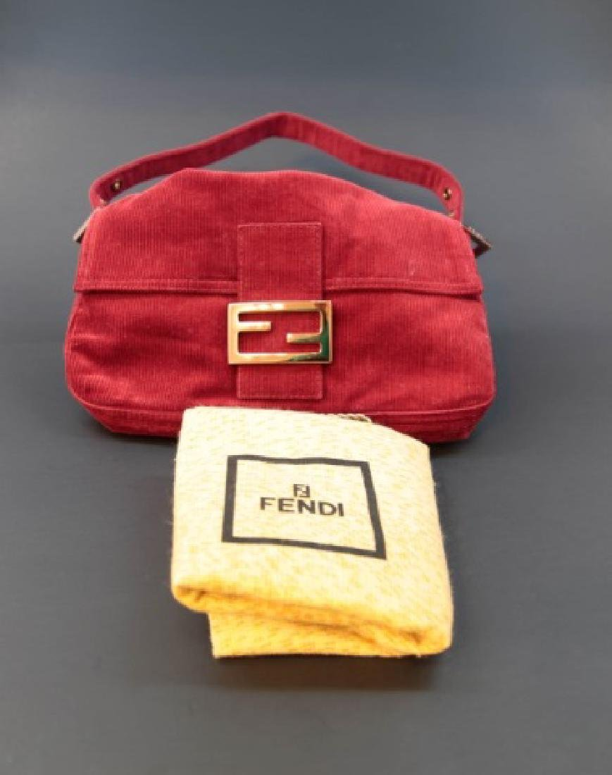 Fendi Brick Red Corduroy Handbag with Fabric Pouch