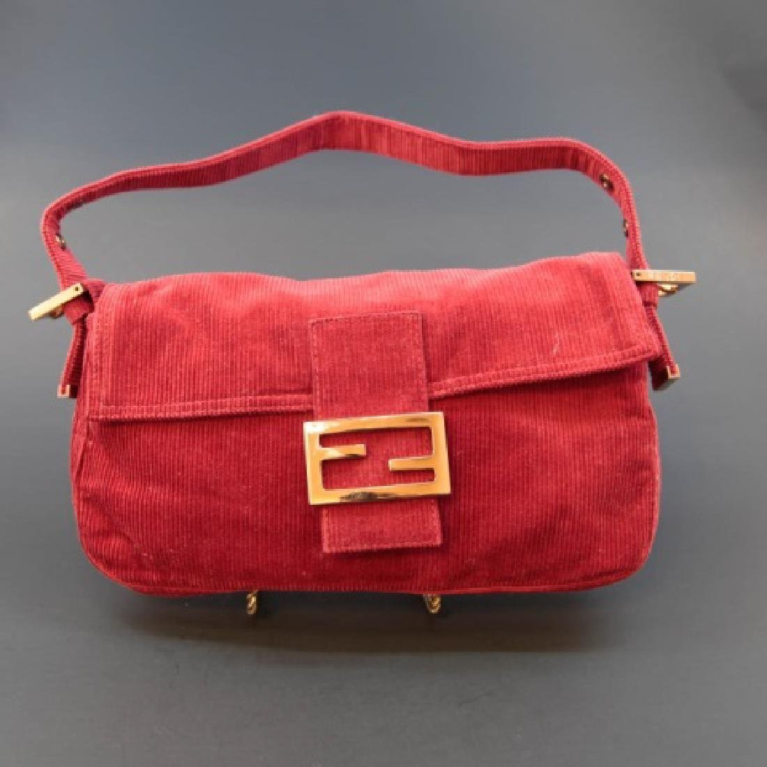 Fendi Brick Red Corduroy Handbag with Fabric Pouch - 3