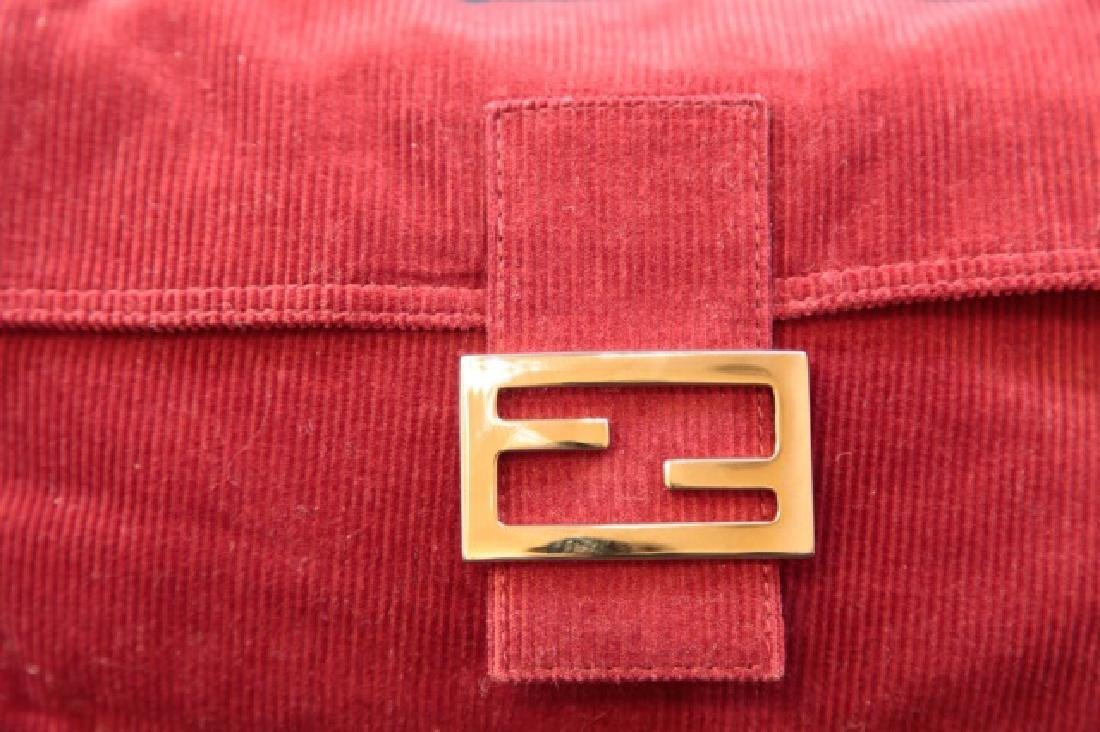 Fendi Brick Red Corduroy Handbag with Fabric Pouch - 4