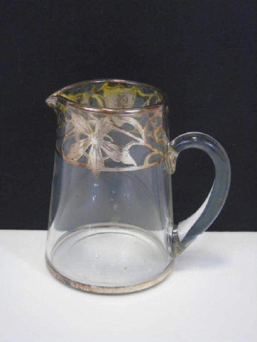 Vintage Creamer & Sugar Sterling Silver Overlay - 4