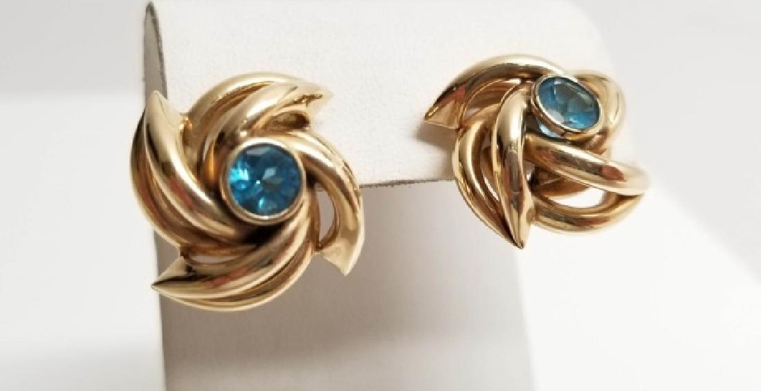 Pair Estate 14kt Yellow Gold Starburst Earrings - 4