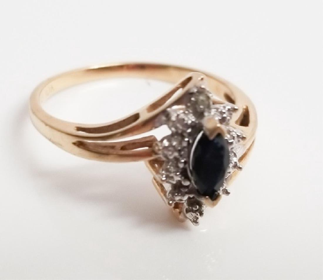 10k Bypass-Style Gold Ring wSapphire & Diamonds