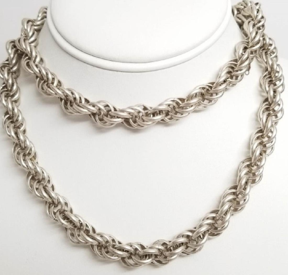 Estate Vintage Heavy Sterling Silver Rope Necklace