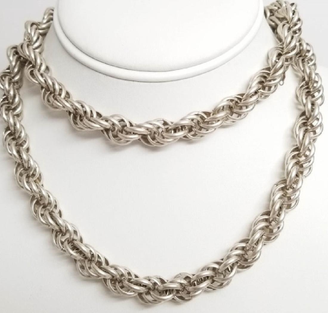 Estate Vintage Heavy Sterling Silver Rope Necklace
