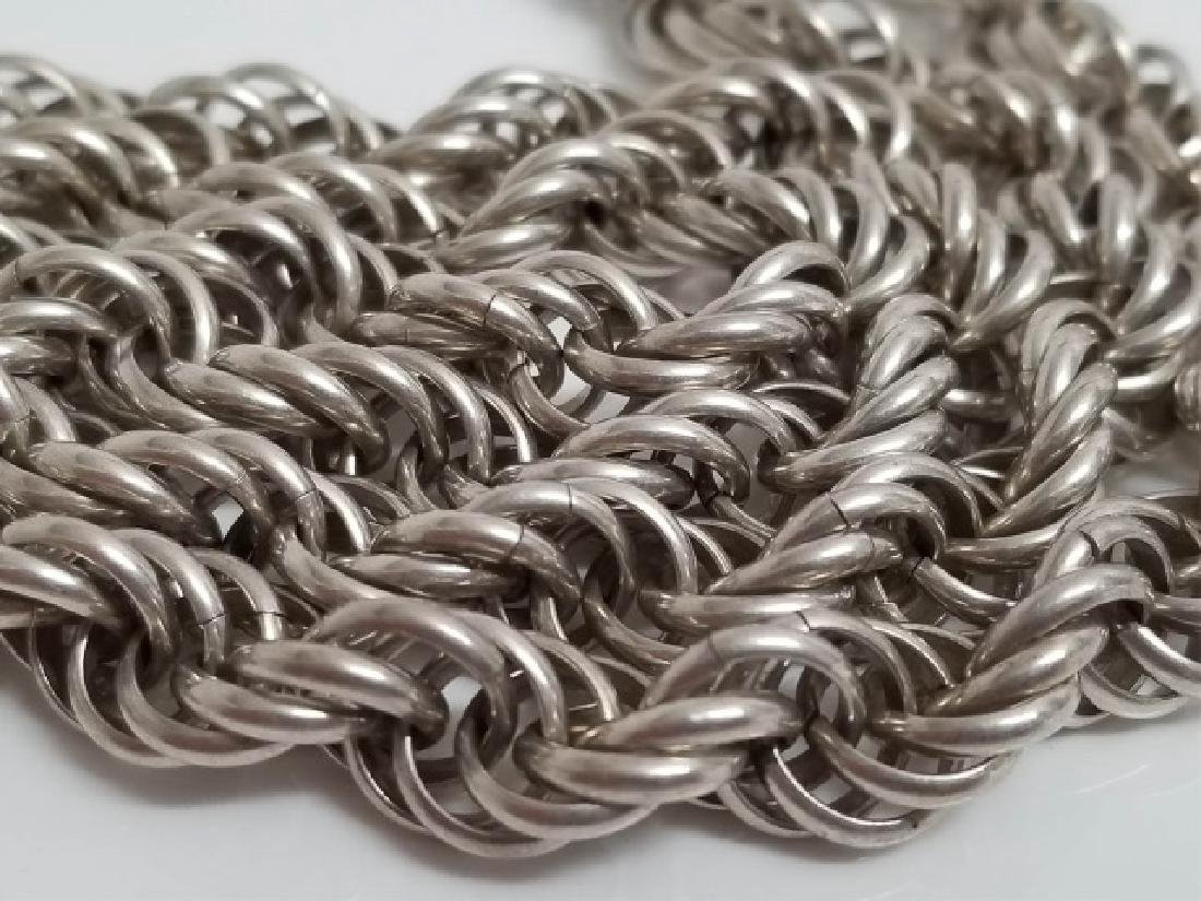 Estate Vintage Heavy Sterling Silver Rope Necklace - 5