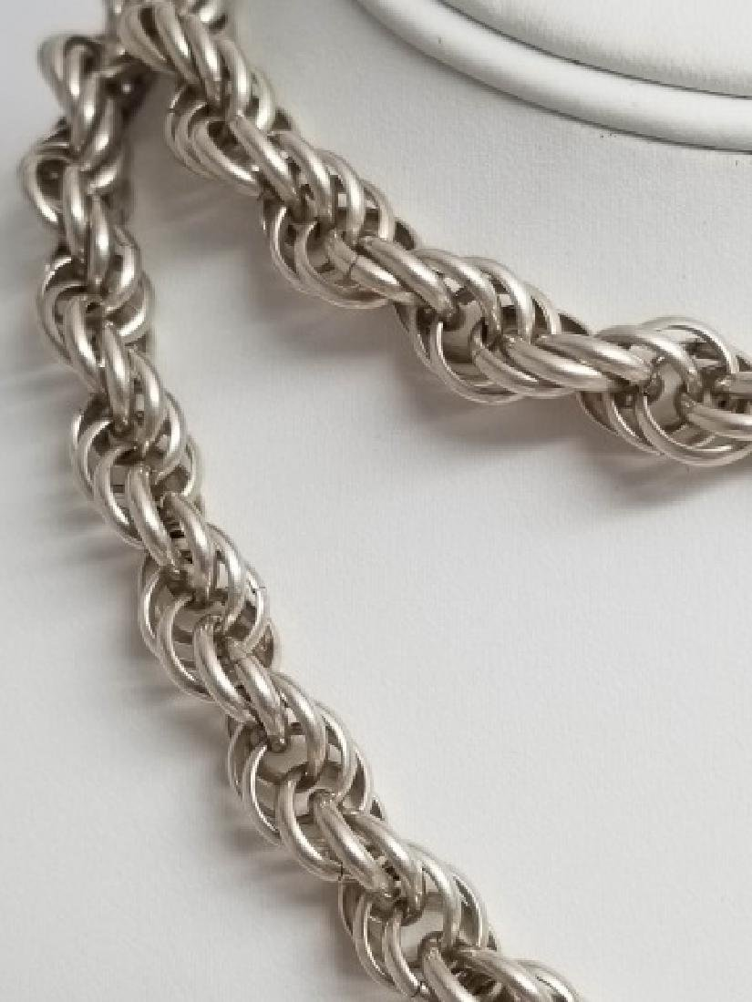 Estate Vintage Heavy Sterling Silver Rope Necklace - 6