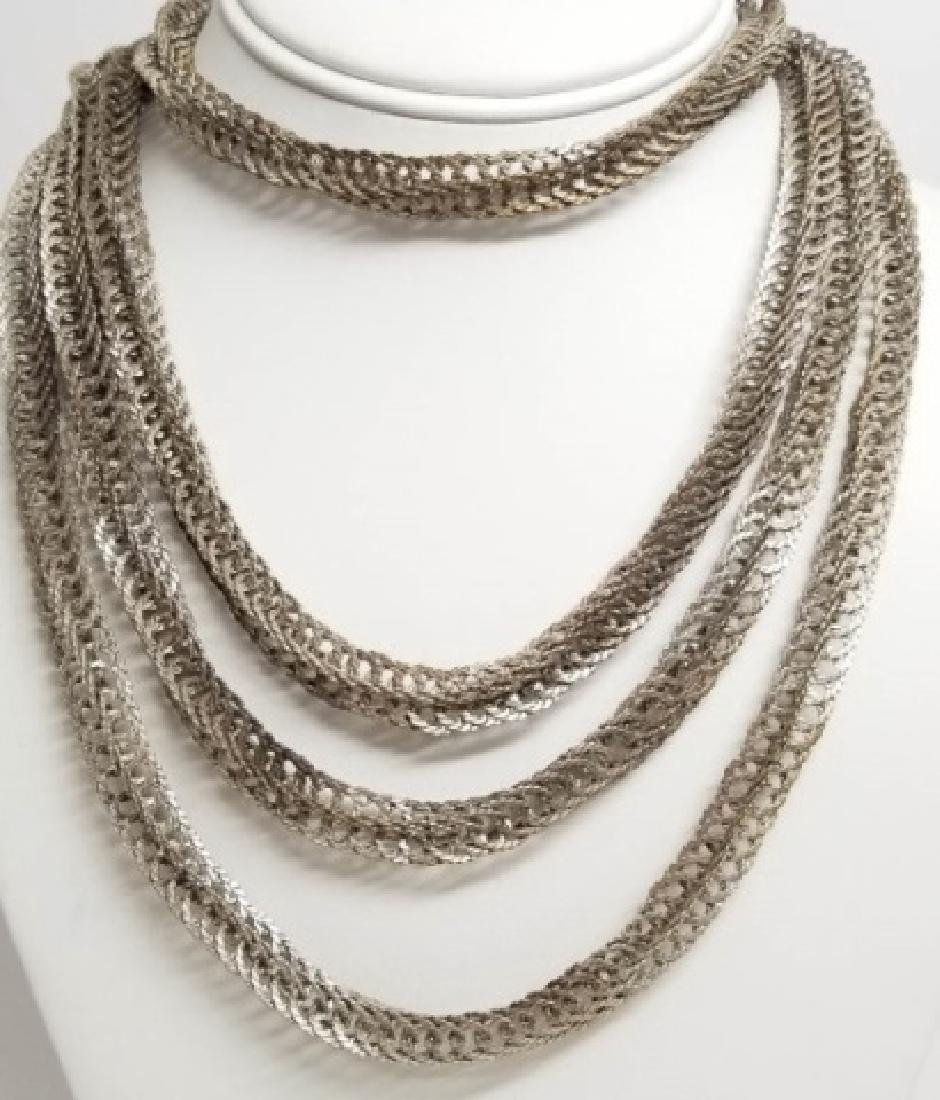Estate Vintage Sterling Silver Woven Link Necklace