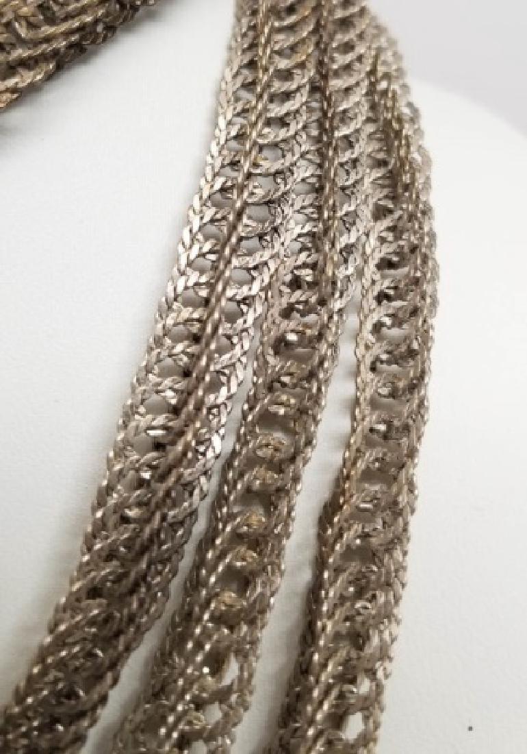 Estate Vintage Sterling Silver Woven Link Necklace - 2