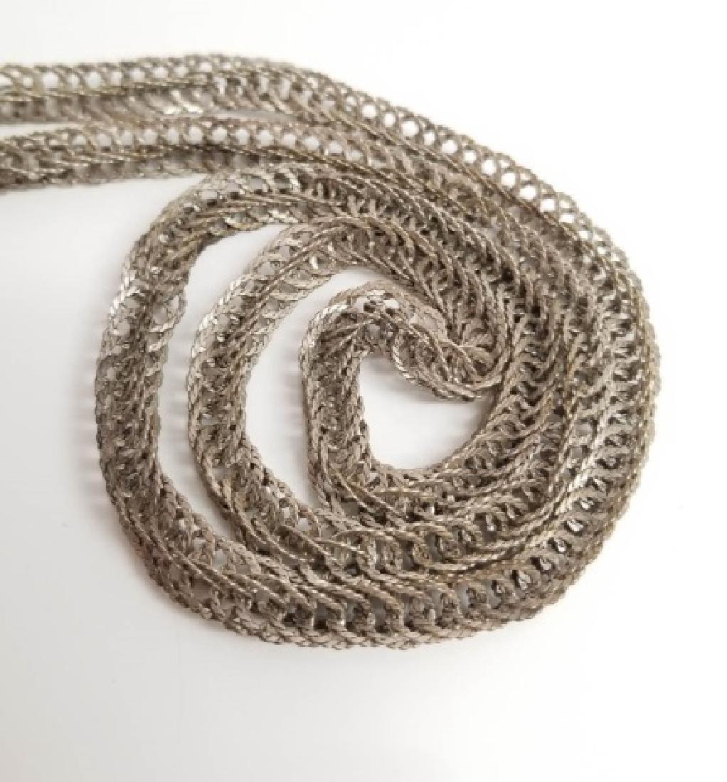 Estate Vintage Sterling Silver Woven Link Necklace - 4