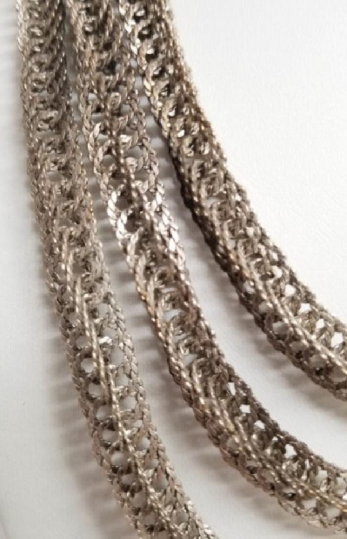 Estate Vintage Sterling Silver Woven Link Necklace - 5