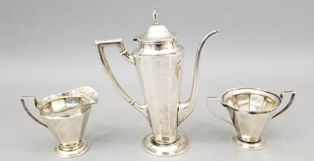 Three Piece Antique Sterling Silver Tea Service