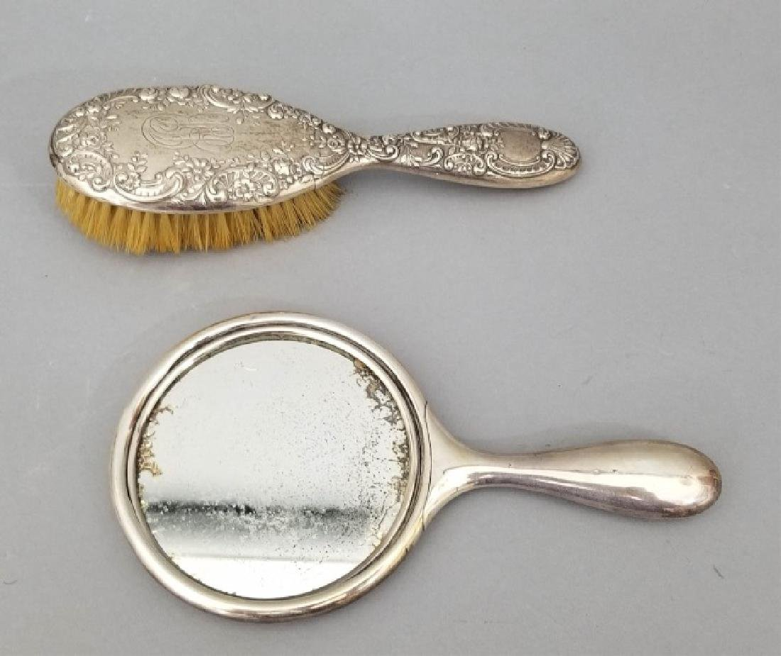 Antique Repousse Sterling Silver Comb & Mirror