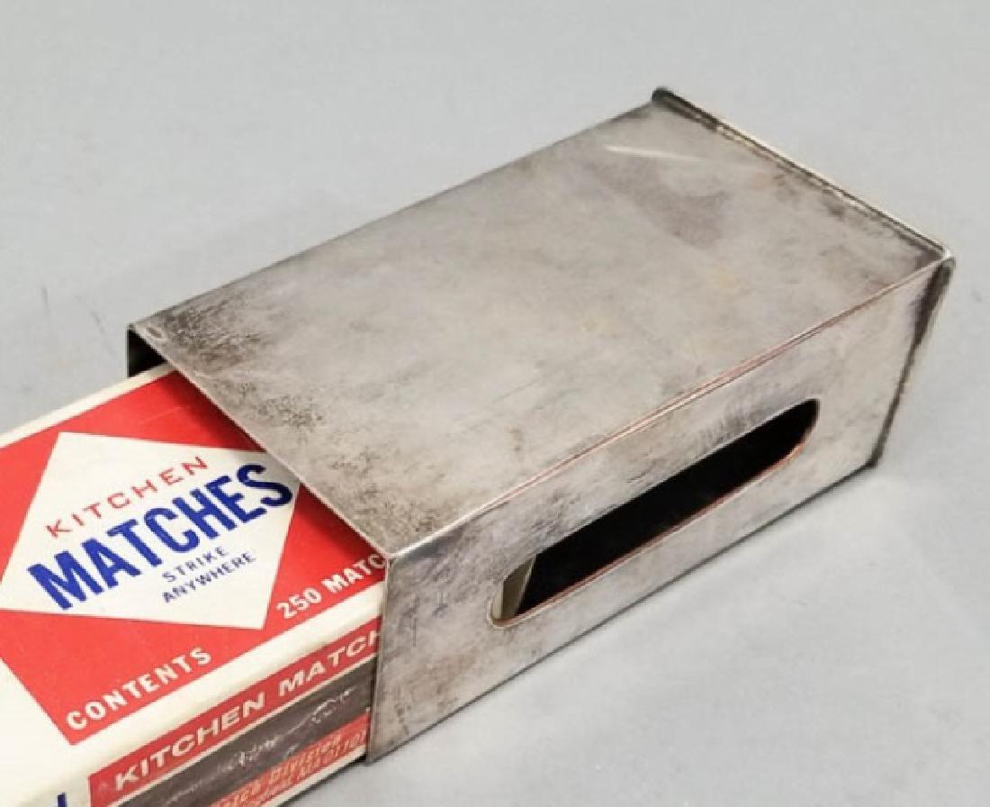 Antique Lion Motif Silver Plate Match Box Case