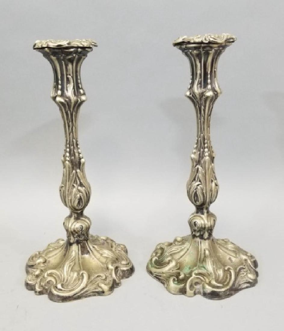 Pair Antique Rococo Hallmarked Silver Candlesticks
