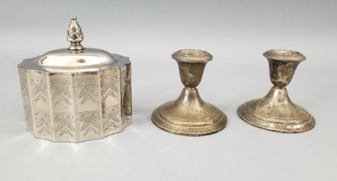 Pair Sterling Candlesticks & Godinger Tea Caddy