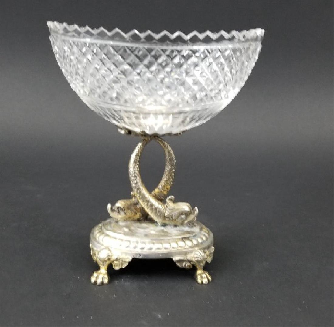 Antique Russian Crystal Silver Serpent Cavier Bowl