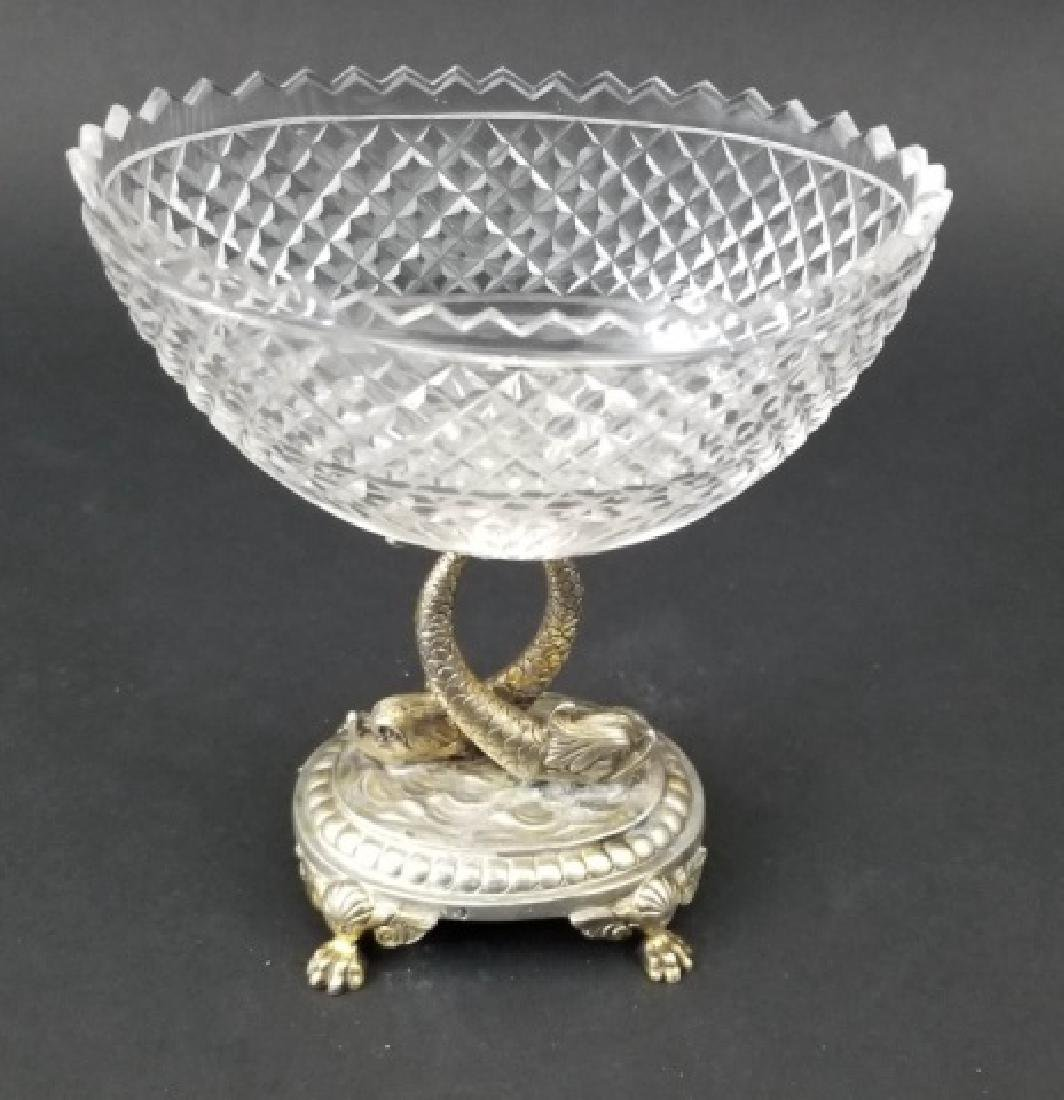 Antique Russian Crystal Silver Serpent Cavier Bowl - 3