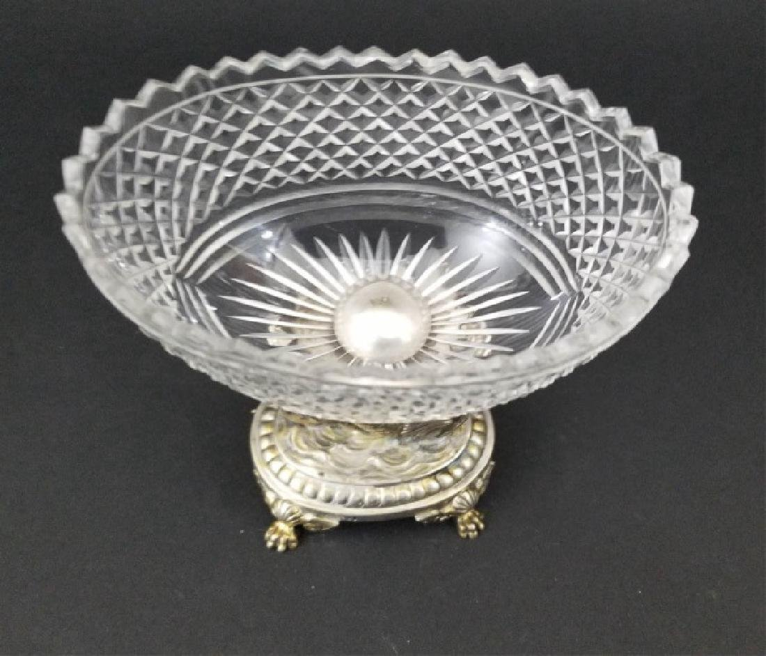 Antique Russian Crystal Silver Serpent Cavier Bowl - 4