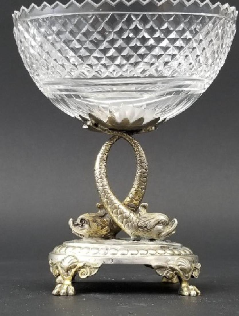 Antique Russian Crystal Silver Serpent Cavier Bowl - 8