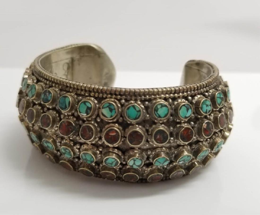 Tibetan Style Inlaid Turquoise Coral Cuff Bracelet