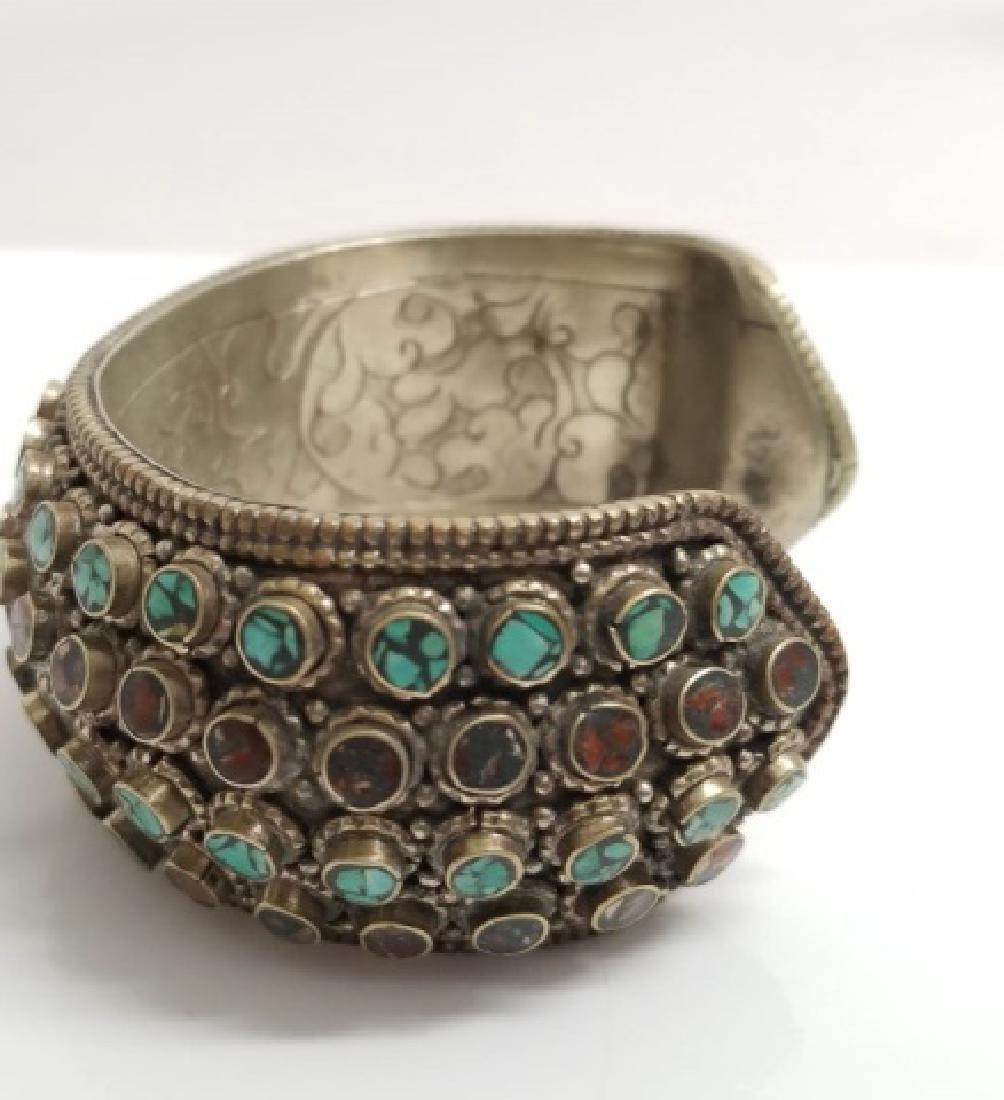 Tibetan Style Inlaid Turquoise Coral Cuff Bracelet - 3