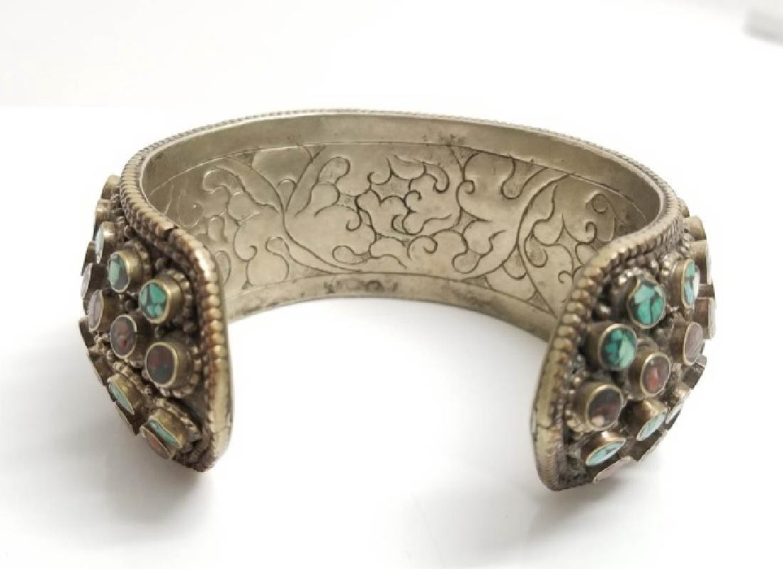Tibetan Style Inlaid Turquoise Coral Cuff Bracelet - 4