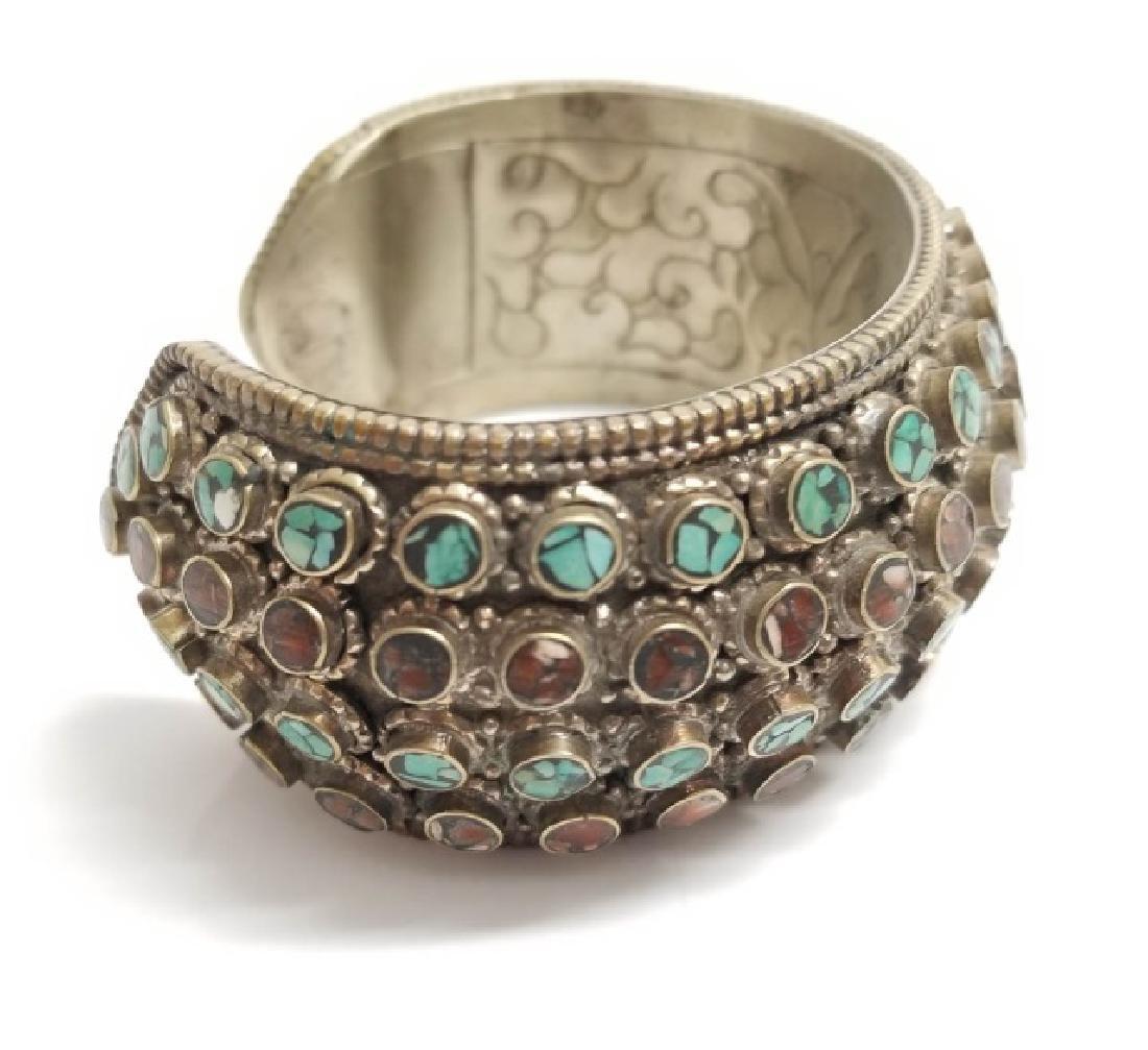 Tibetan Style Inlaid Turquoise Coral Cuff Bracelet - 5