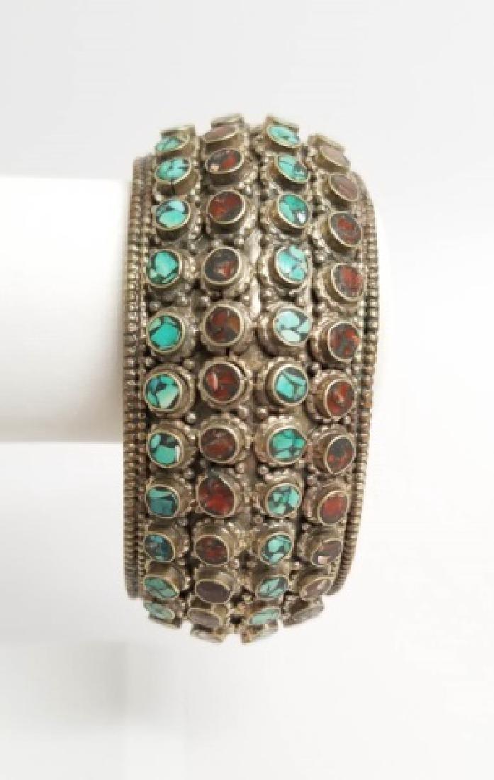 Tibetan Style Inlaid Turquoise Coral Cuff Bracelet - 6