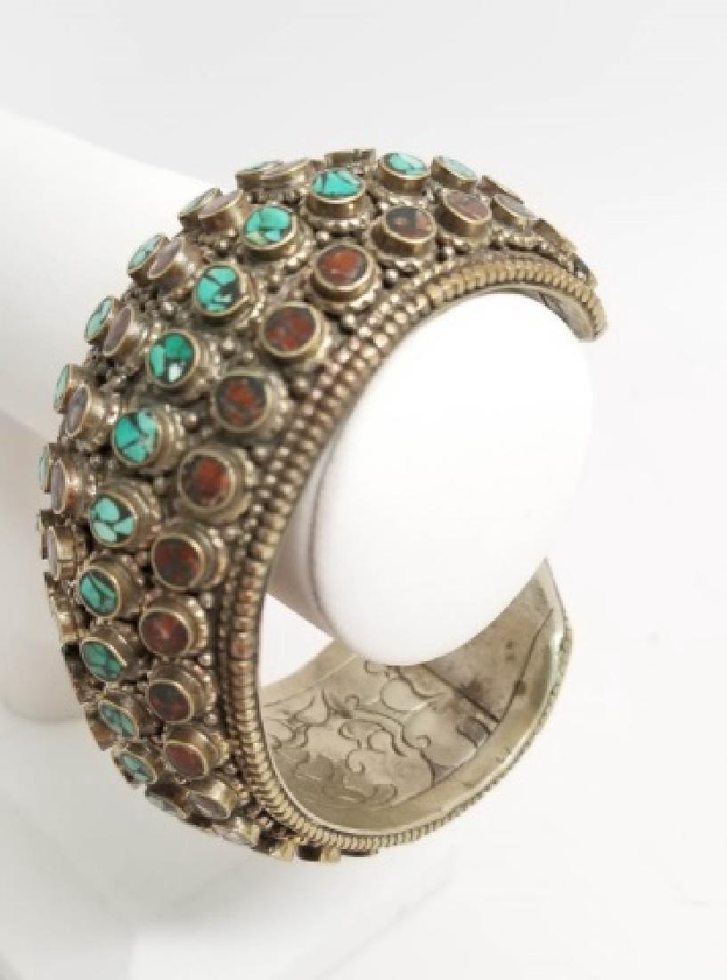 Tibetan Style Inlaid Turquoise Coral Cuff Bracelet - 7
